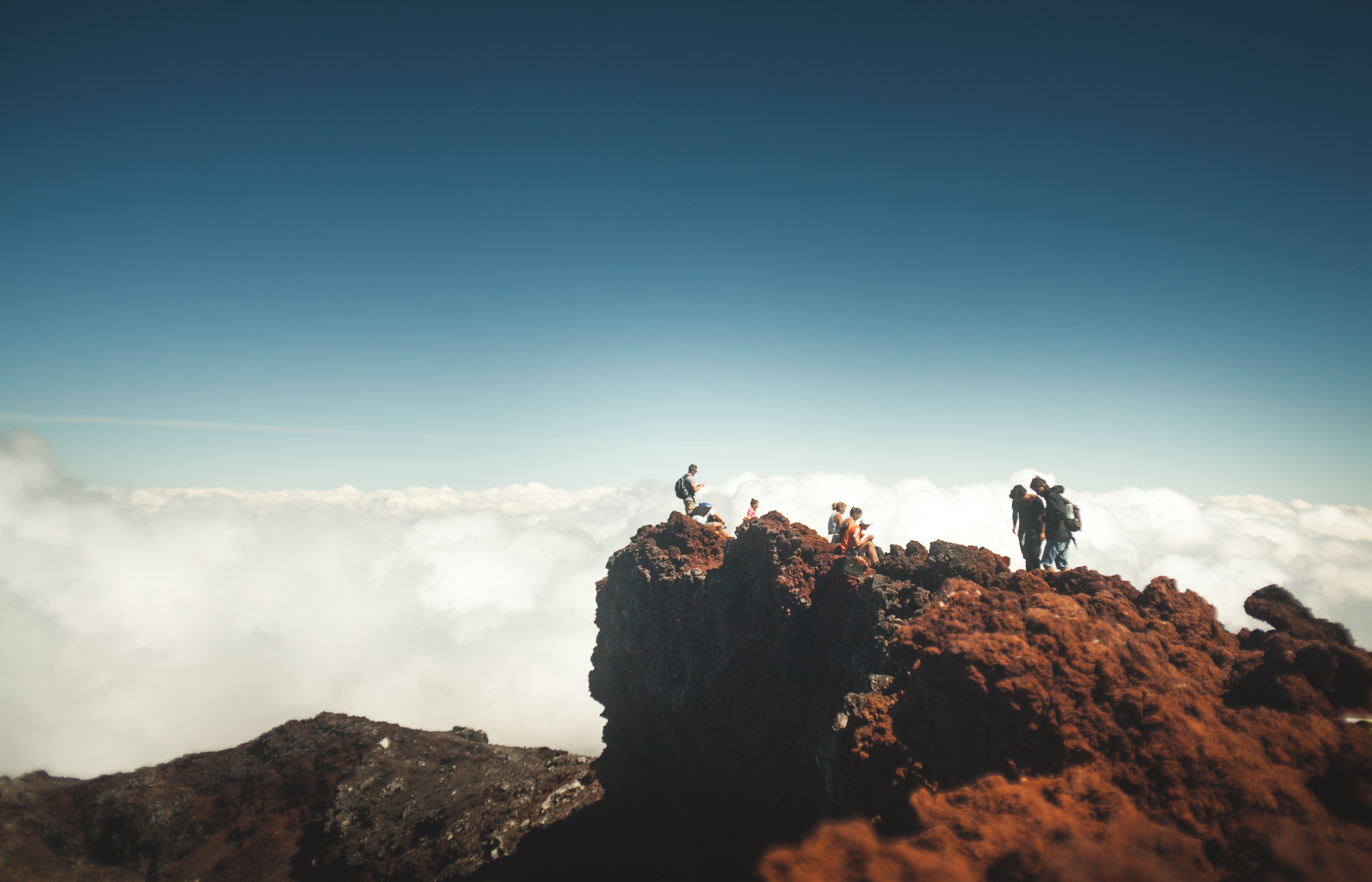 Camaraderie above the clouds.