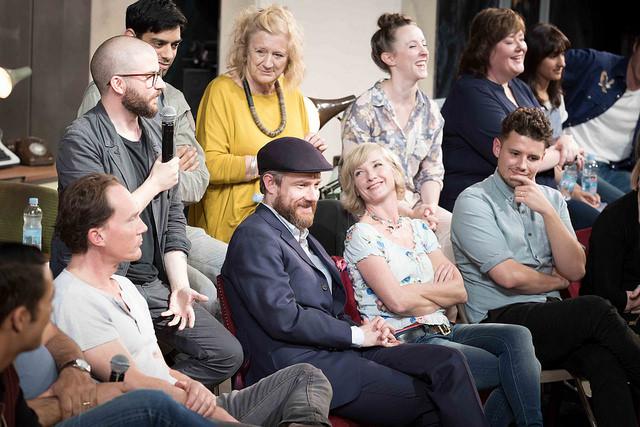 Jamie Lloyd with mic, alongside Martin Freeman and Jane Horrocks