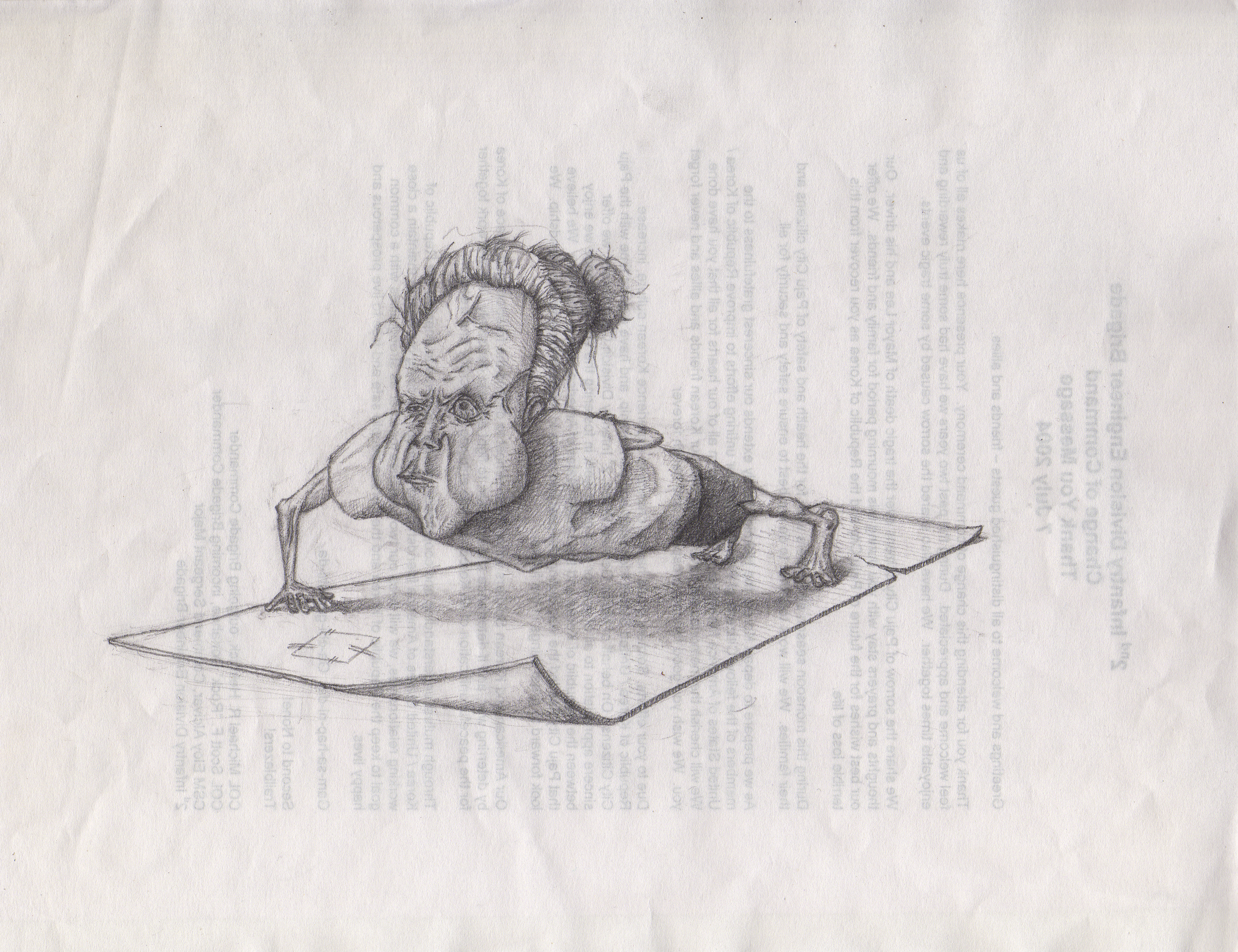 / Pencil on paper /  'When my granny was 99,  she did PT to STAY ALIVE!'