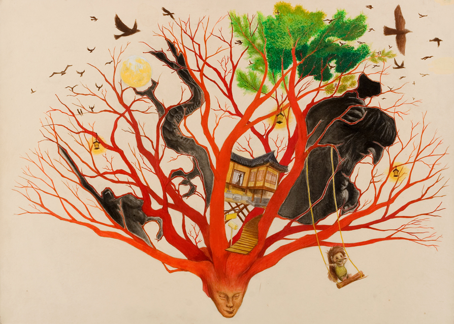 Imagination tree  / Gouache on hard board /   Memories  from places I used to live in growing into a tree, knight, dragon, and Norwegian troll.