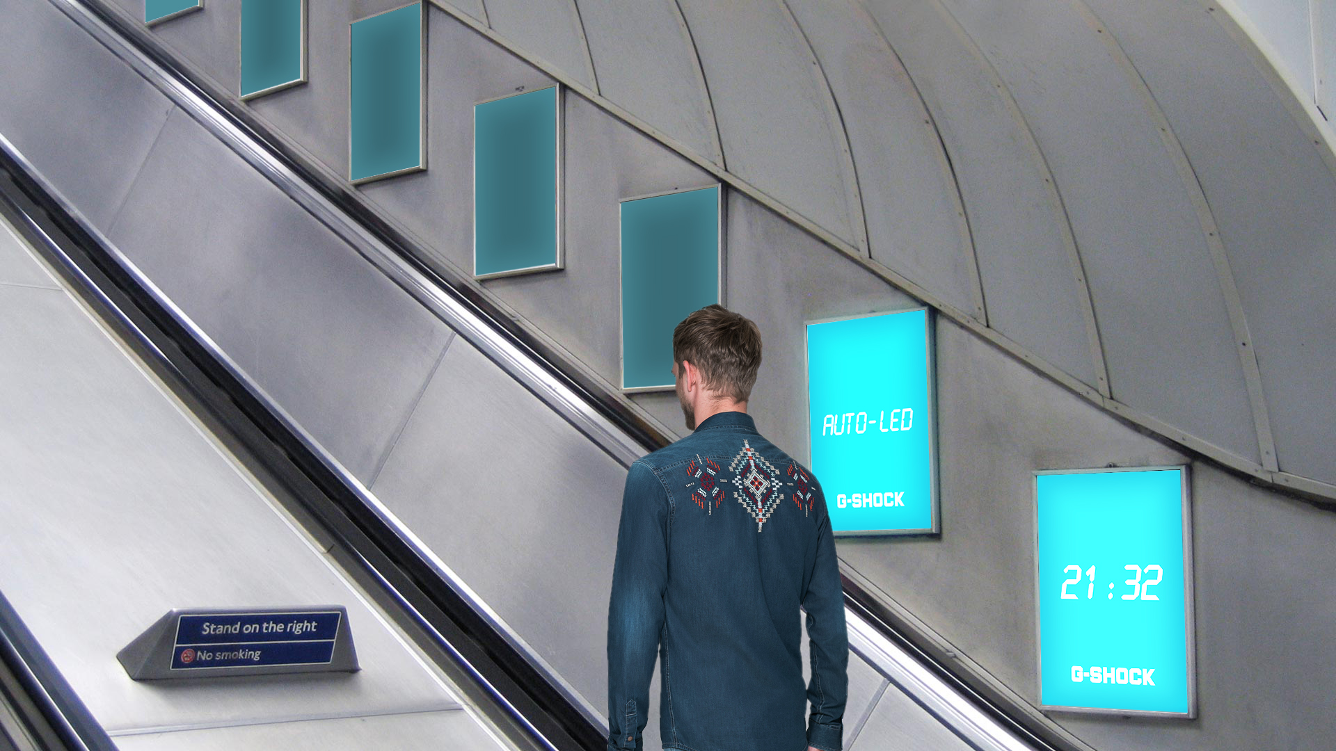 Series of panels next to the escalator. The panels would contain movement sensors and automatically light up when a person passes by.