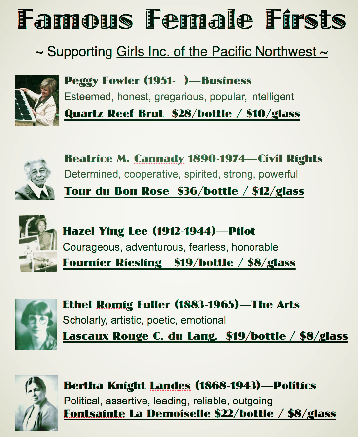 Handout from the 5-wine tasting flight of Famous Female Firsts of the Pacific Northwest, as provided by Girls Inc.