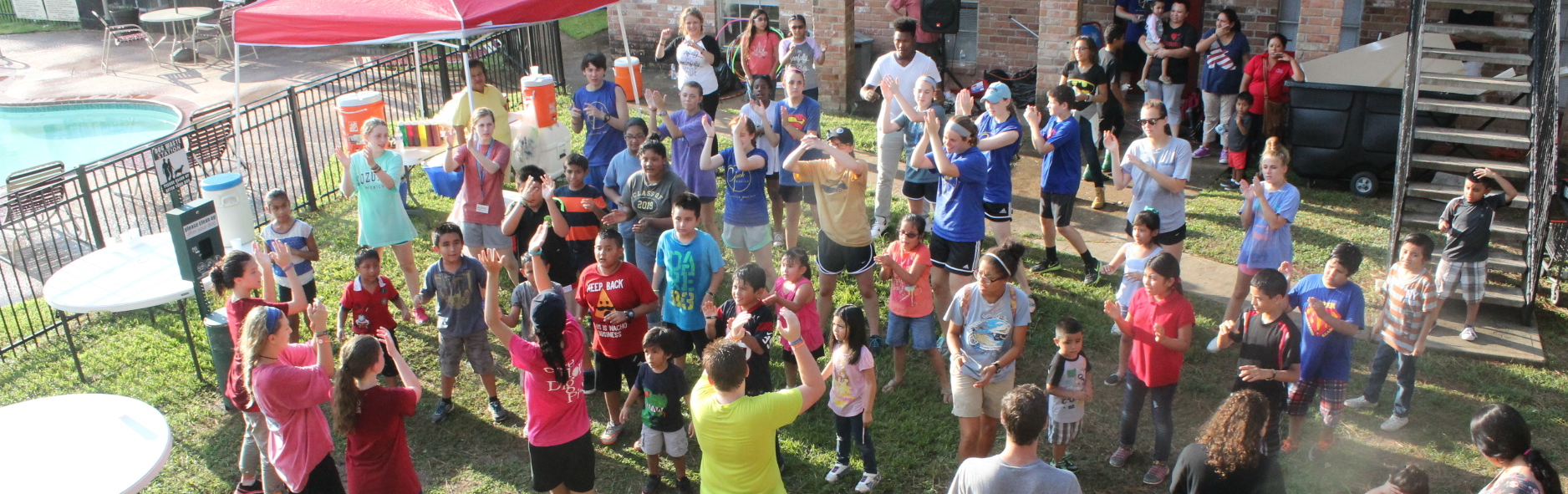 Sharing the joy of christ with children in an apartment complex.