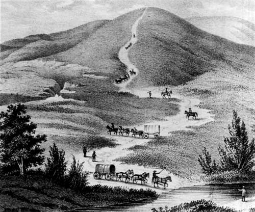 Fig. 22. Descent of western flank of the Blue Mountains, Oregon Trail, 1849 (Cross 1850) (OrHi 35, 575).