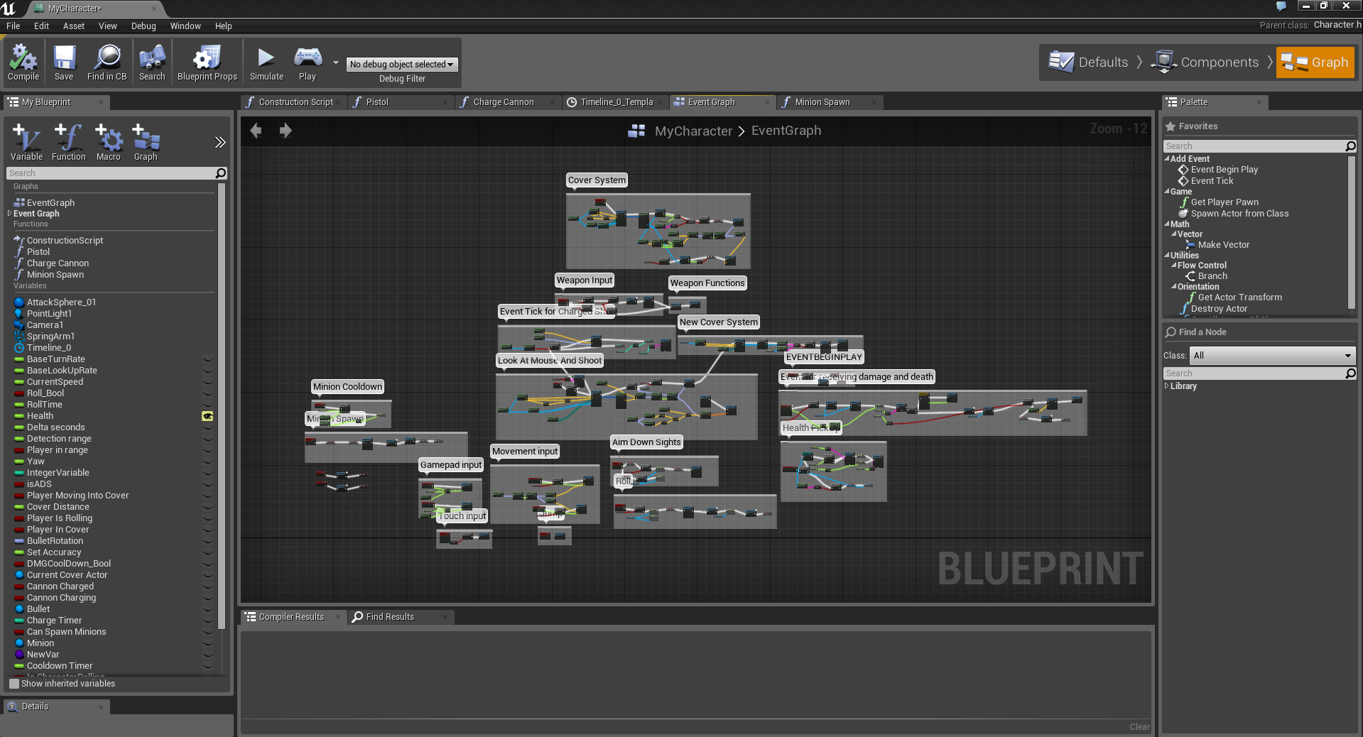Blueprint for the main character. NOTE: A few of the functions were put in by other programmers.