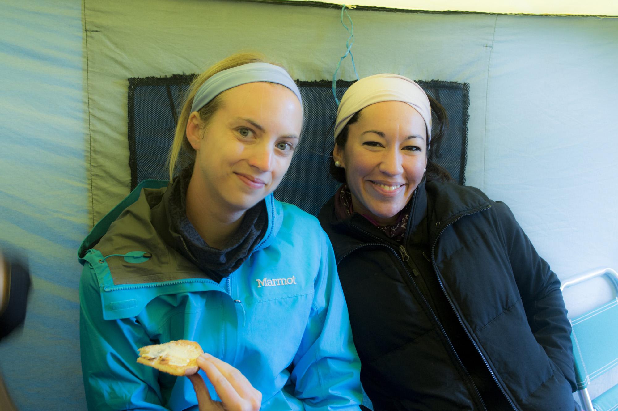 Inca 2 jayne and zai in mess tent.jpg