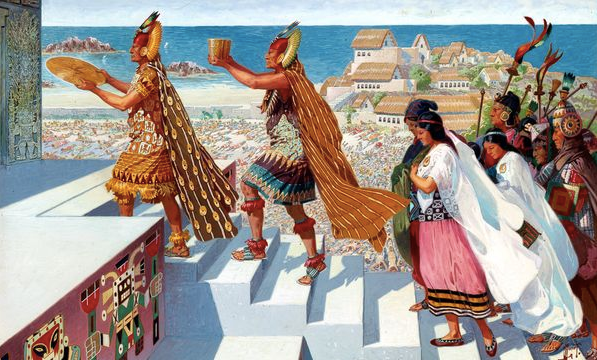 LOOK TO THE SKY - Inca religion was complicated and incorporated many aspects of the sky and nature. The Inca visualized Inti, the Sun God, as a man, and his wife as the Moon. Most Incan architecture was designed and built for the worship of the Sun, Moon and stars.