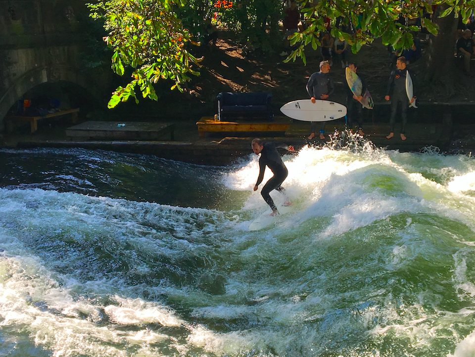 SURF'S UP, MUNICH - Munich is the capital of Bavaria and is one of the world's most acclaimed cities for beer enthusiasts, but did you know it's also a surfer hot spot?! The Eisbach is a small channel of the Isar River that runs through Munich's Englischer Garten, and more than a hundred river surfers attempt the icy cold wave on DAILY basis. Snow is no deterrent either, as surfers are out on the wave in all 4 seasons. Don't try this if you are inexperienced though! The wave is fast and powerful and you'll need to surf from the second you hit the water, because there's no paddle time.