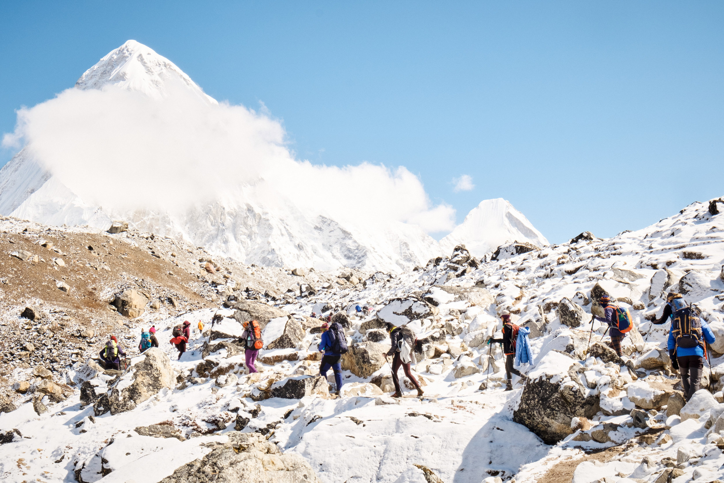 DAY 9:ALL ABOUT THAT BASE - LOBUCHE to EVEREST BASE CAMP to GORAK SHEPElevation: 4,900 - 5,380 - 5,125 mDistance: 15 km