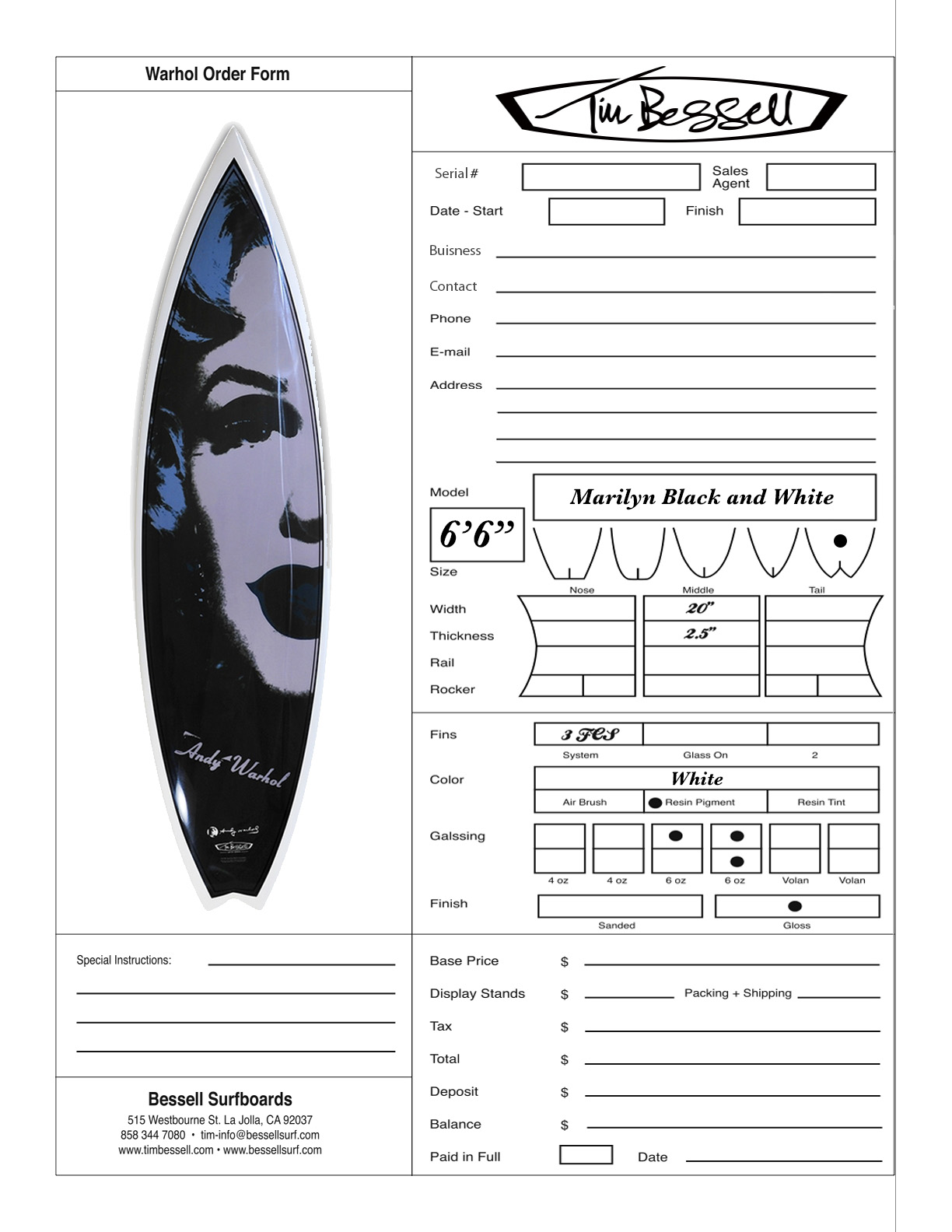 "Click Here For ""Marilyn Black and White"" Order Form"