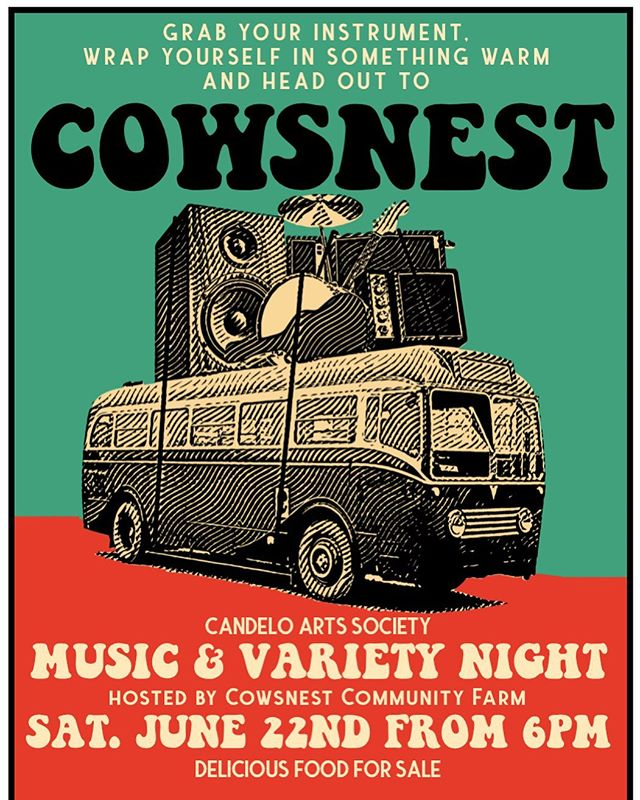 Hey all you good-timers + song-slingers + banjo strummers + closet-rocknrollers! 🎸 We're having a rip-roarin' Music & Variety Night at the magical Cowsnest Community Farm on June 22nd! 🐄 Put on your winter woolies and load up your tall tales + love songs + back pocket poetry + bathroom mirror comedy routines (along with a carload of your best buddies!) and come join us! 🚎 The stage is for sharing! Community keeps us warm! See you there! ✨ @cowsnestfarm (156 Moreings Rd, off Myrtle Mtn Rd, Candelo)  #candeloartssociety #livemusic #buildingcommunity #openmic #candelosgottalent 🕺🏾🎭🤹🏽‍♂️🥁💃🏻🎤🎨🎹🤸🏼‍♀️❄️🔥