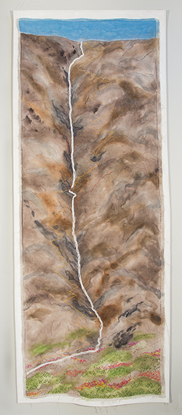 "Switchbacks 2018 (B.Matzkuhn) 79 x 141 cm  (31 x 76"") Fabric paint and hand embroidery on linen"