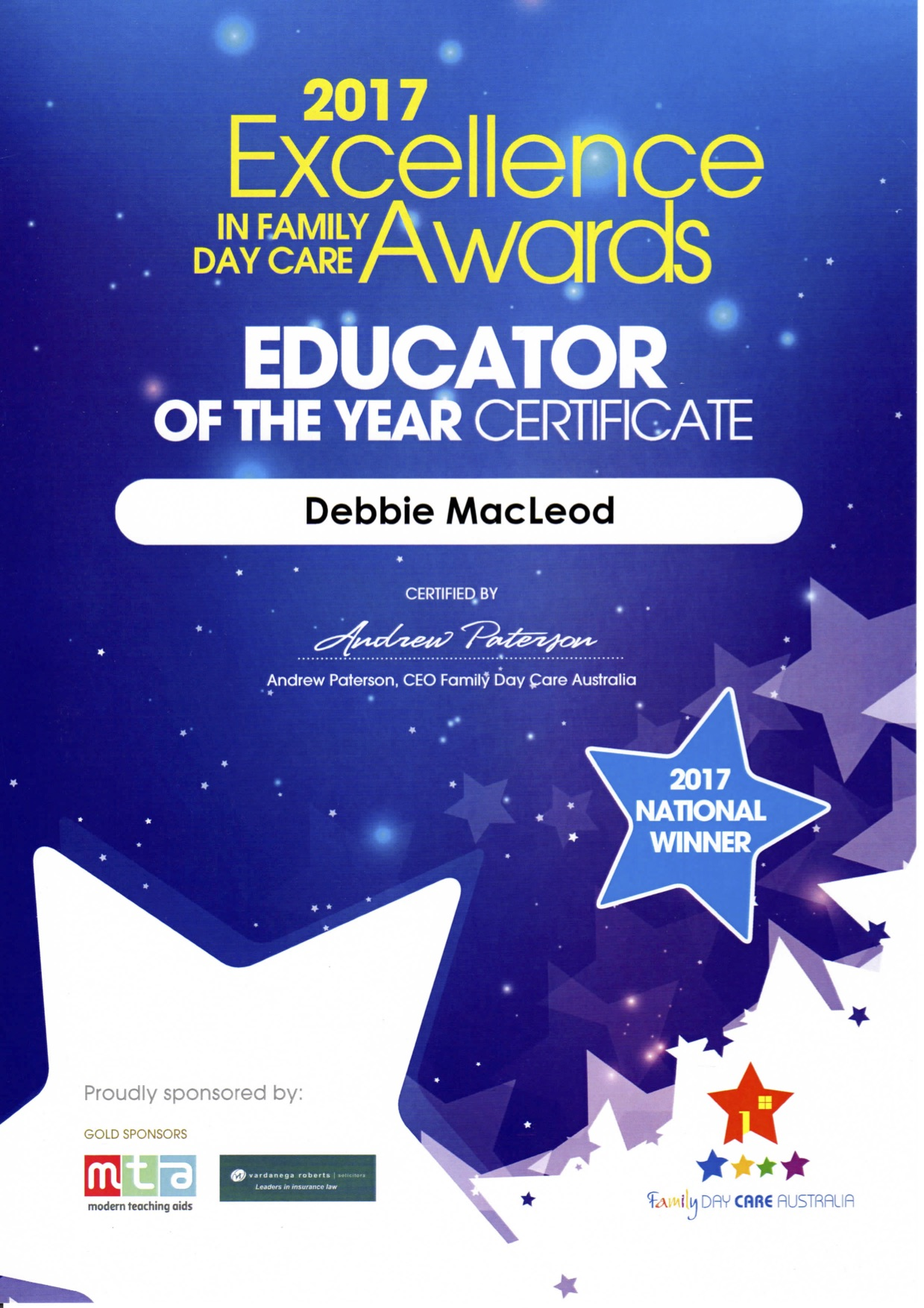 EDUCATOR OF THE YEAR NATIONAL WINNER 2017