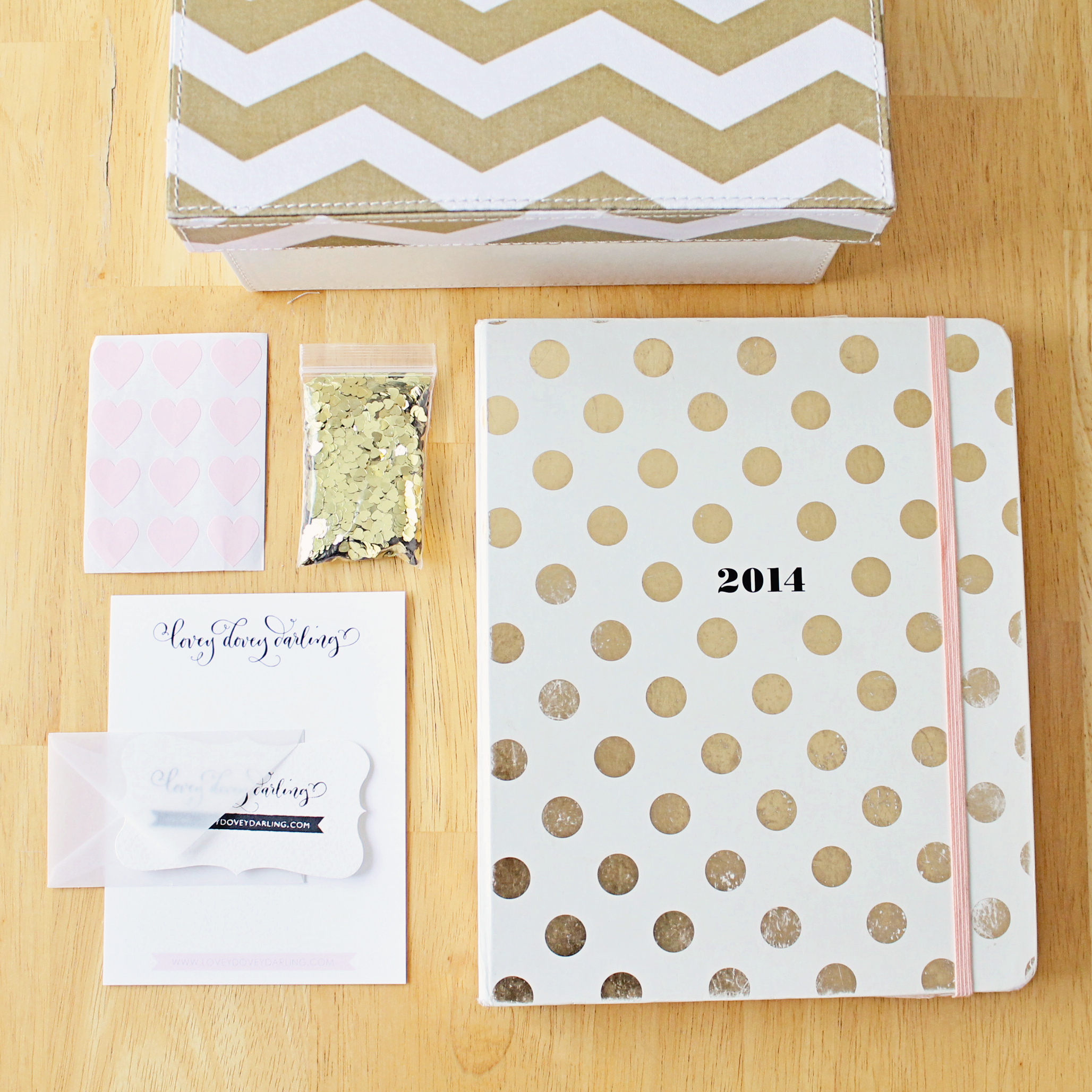 Lovey Dovey Darling Pretty Packaging - Kate Spade Agenda, Target Chevron Box, Calligraphy Stationary