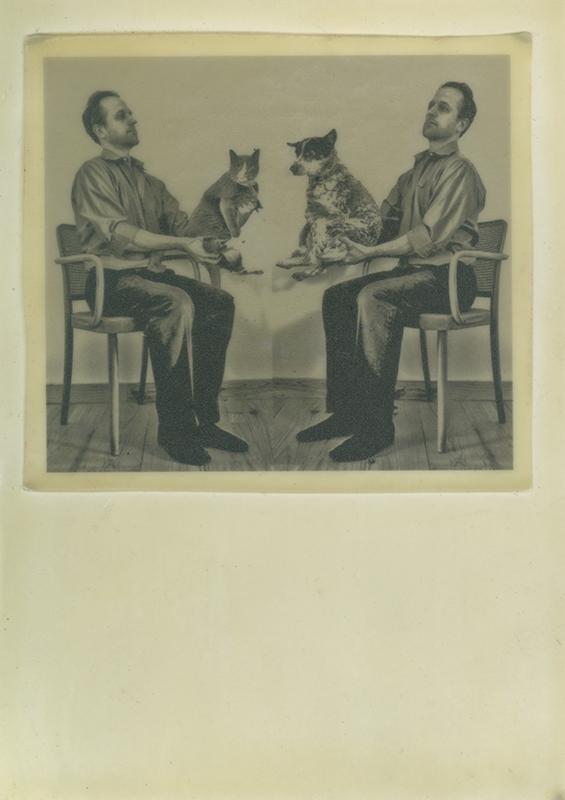 "Self-portrait with pets, 7""x5"", pigment print on onion skin paper, encaustic, masonite"