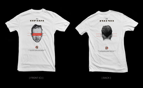 T-Shirt design for Cup Cafe. It's design mirrors the front and back pages of the menu.
