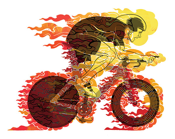 3/4 spread illustration for Inside Triathlon Magazine