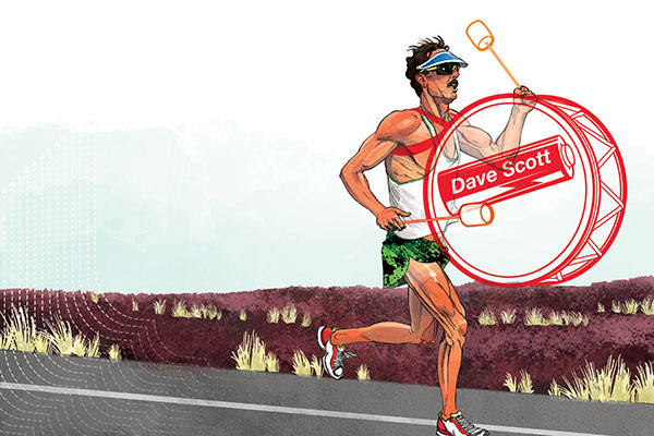 Full Spread illustration for Inside Triathlon's Dave Scott feature