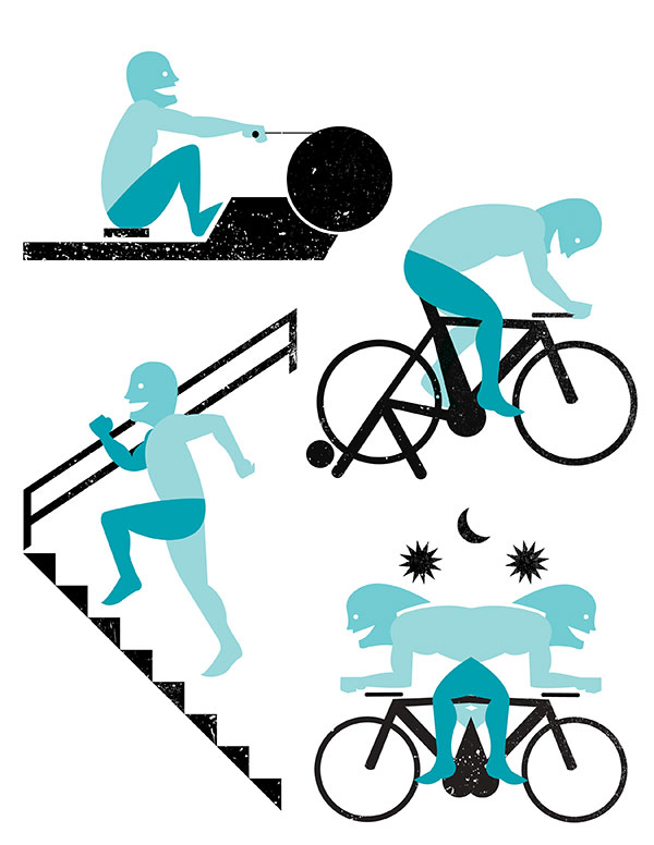 Half page illustration and small icons created for Triathlete Magazine