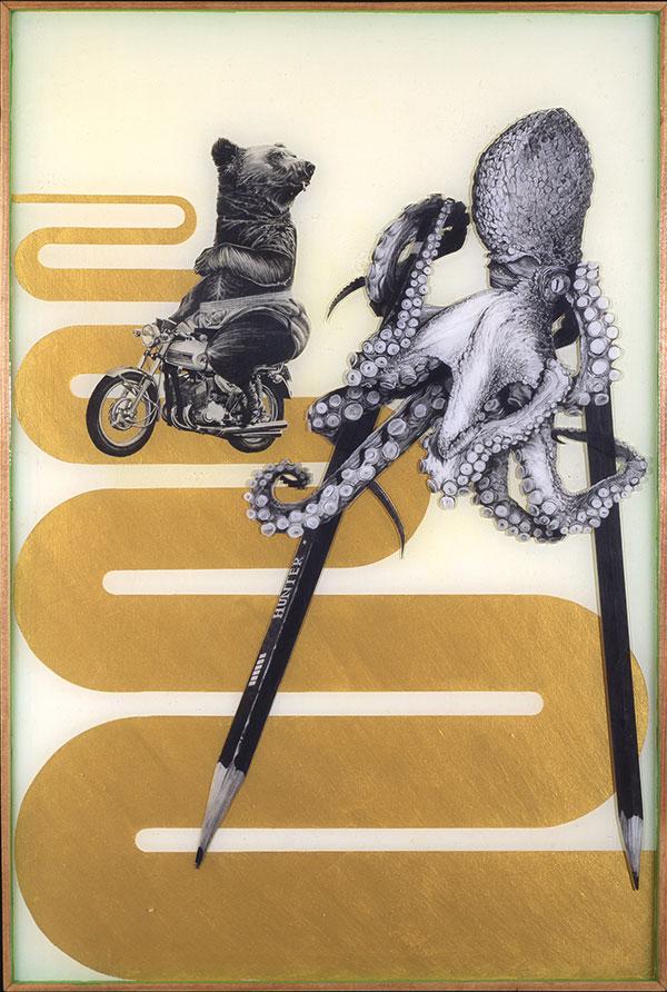 Pencil renderings and acrylic encased in resin