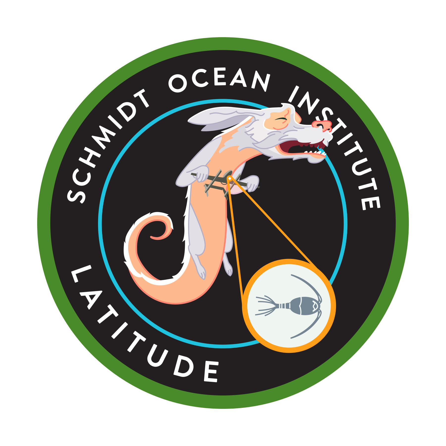 Mission patch for the Schmidt Ocean Institute. The research vessel is called the flaker and was studying the ocean's micro layer utilizing UAV's.