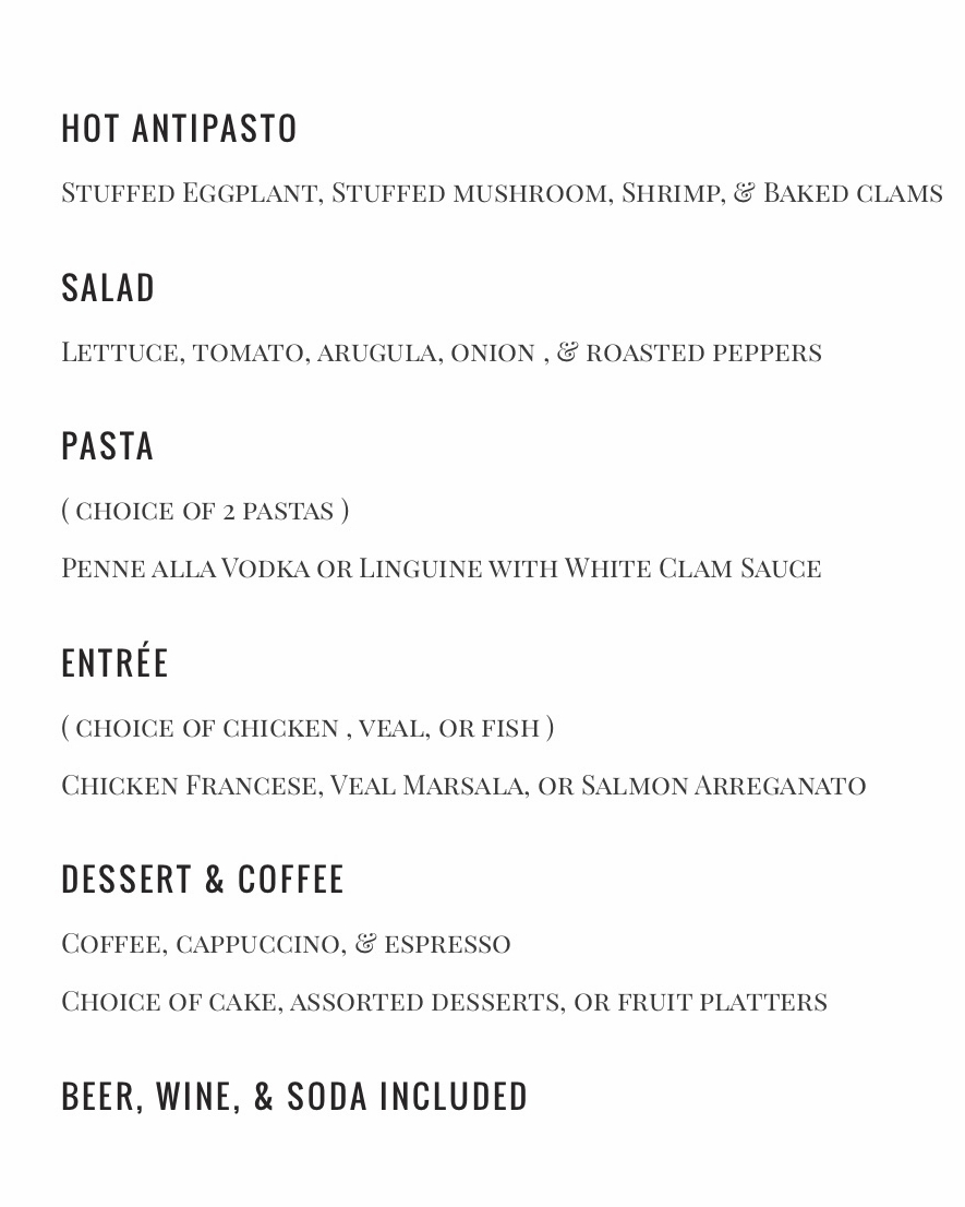 PARTY MENU - CALL FOR PRICING