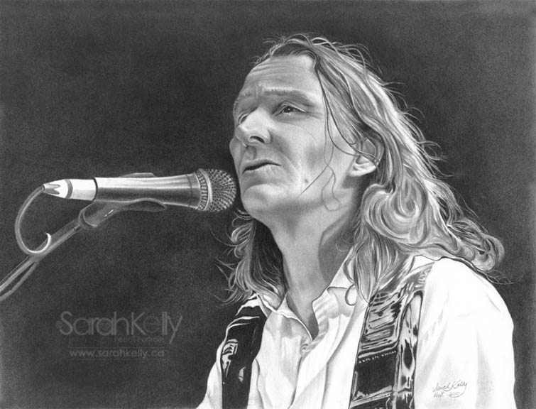 Realistic pencil drawing of Roger Hodgson
