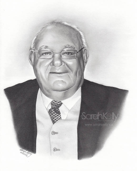 """inductee portrait Ontario Road Building Hall of Fame collection - """"Sarah injects vitality, youth and personality to make her subjects come alive. Each portrait is a work of art on its own."""" Rob Bradford (f) executive director, Ontario Road Builders' Association"""