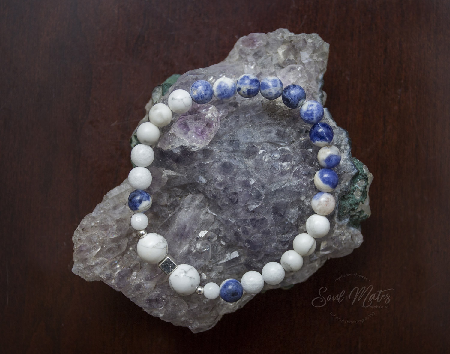 Calming  - Howlite, Sodalite and White Jade calm the mind and emotions while allowing clear thinking processes.  Great for day wear in the workplace and for a restful night's sleep.  $22