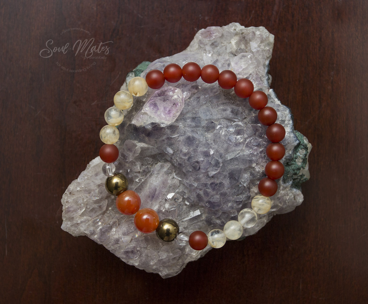 Energizing  Carnelian and Citrine combined with Pyrite stimulate the metabolism, improve motivation, self esteem, self confidence and creativity. Wealth attracting.  Great for wear during the day!  $22