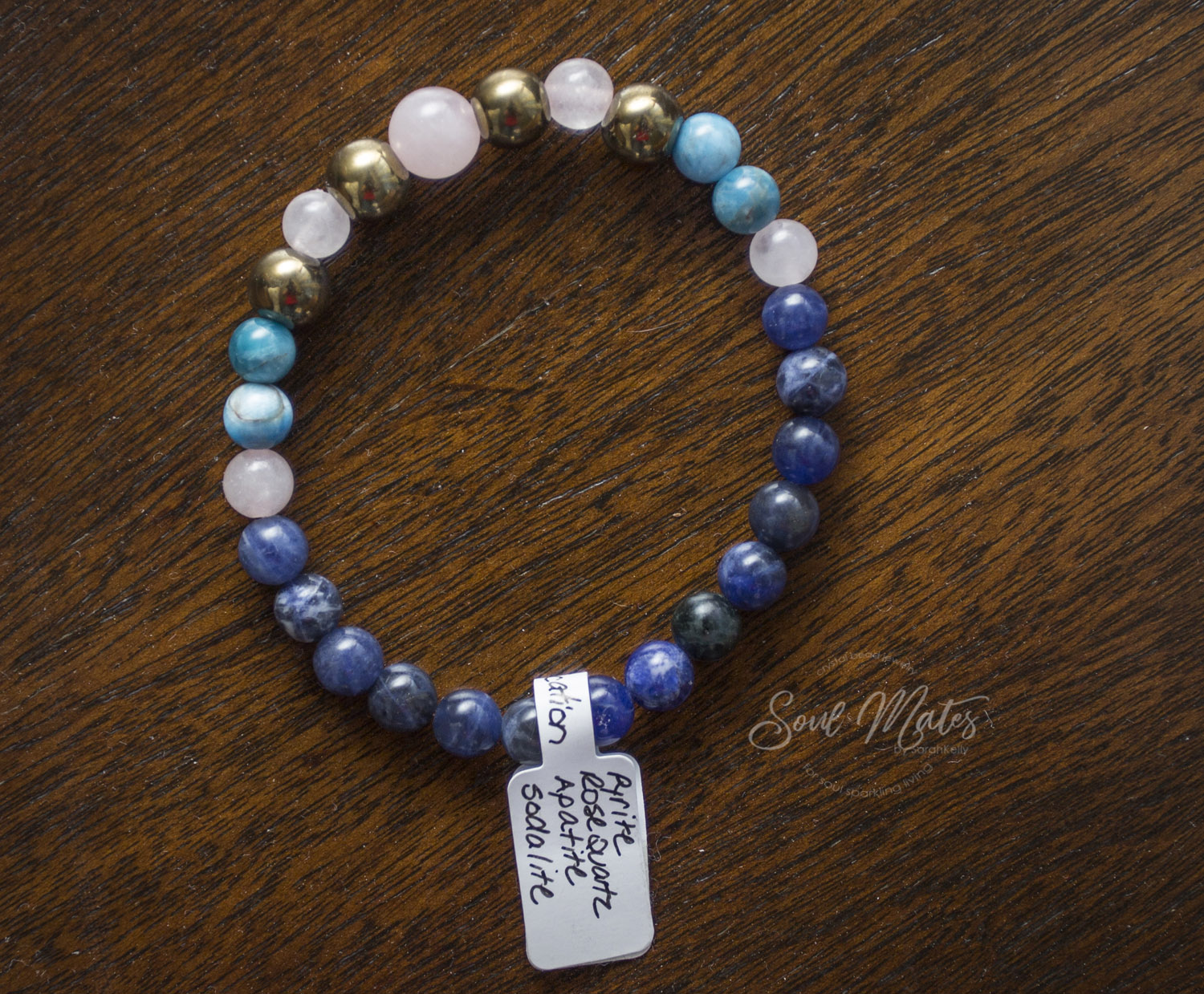 Intuition  - Sodalite, Apatite, Rose Quartz and Pyrite - Unites logic with intuition, stimulating clear communication from a clear heart.  Great for day, night wear and meditation.  $30