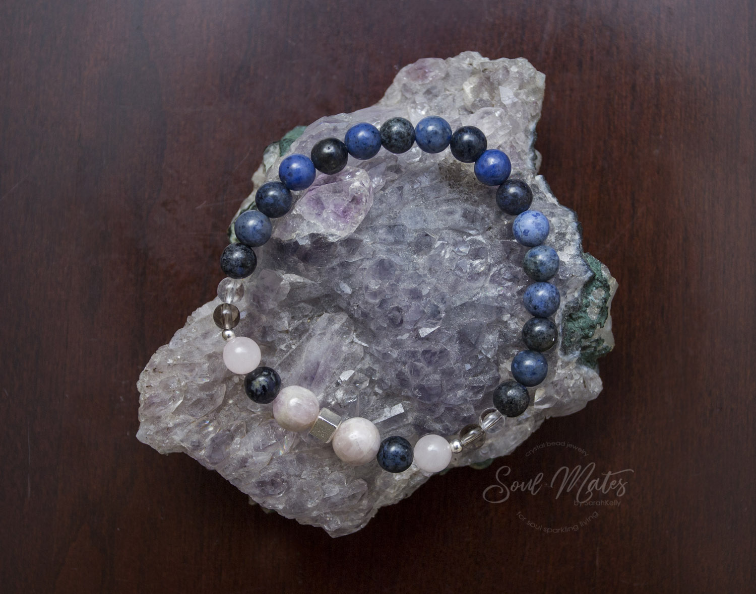 Intuition  - Dumortierite and Kunzite make a powerful combination to connect to intuitive ability, universal and spiritual connection through a clear mind.  Great for day, night wear and meditation.  $30
