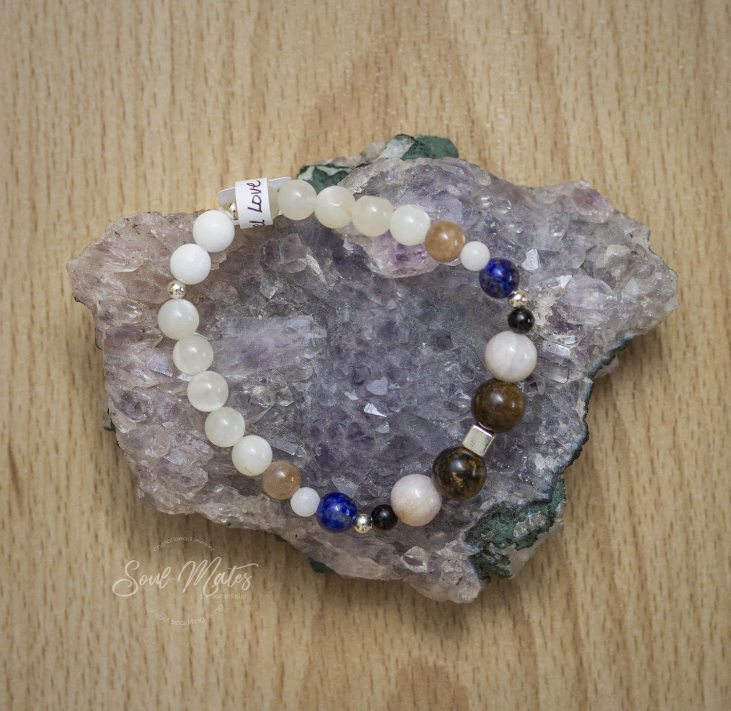 Intuition  - Moonstone and Lapis promote intuition and empathy by calming emotions while Bronzite and Kunzite protect from negativity and emotional attack from others. Powerful protector to allow for intuitive sense to flow.  $25