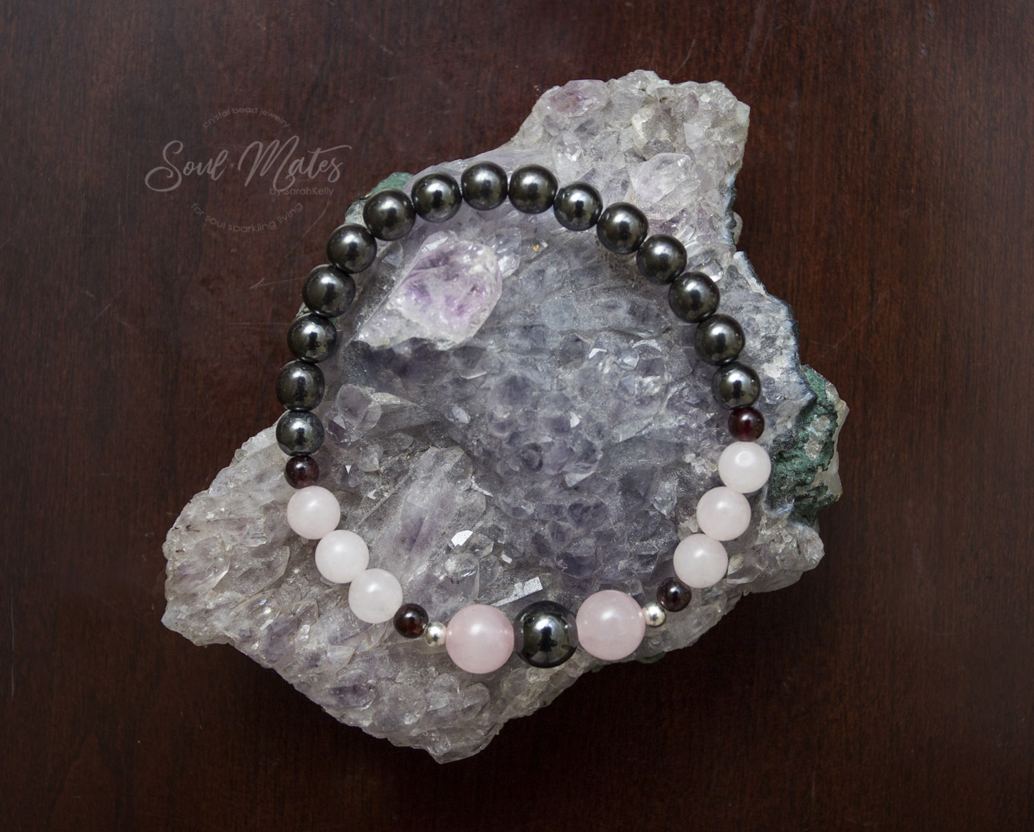 Romantic Love  - Rose Quartz, Garnet and Hematite enhance self love and confidence to attract romantic love and passion!  $18