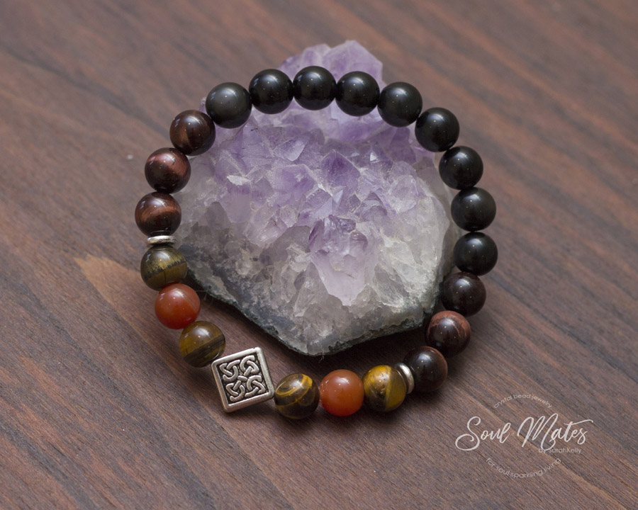 Protection  - Obsidian protects while Yellow and Red Tiger's Eye with Carnelian allow for abundance and confidence to flow. Boosts metabolism and mental strength.  $20