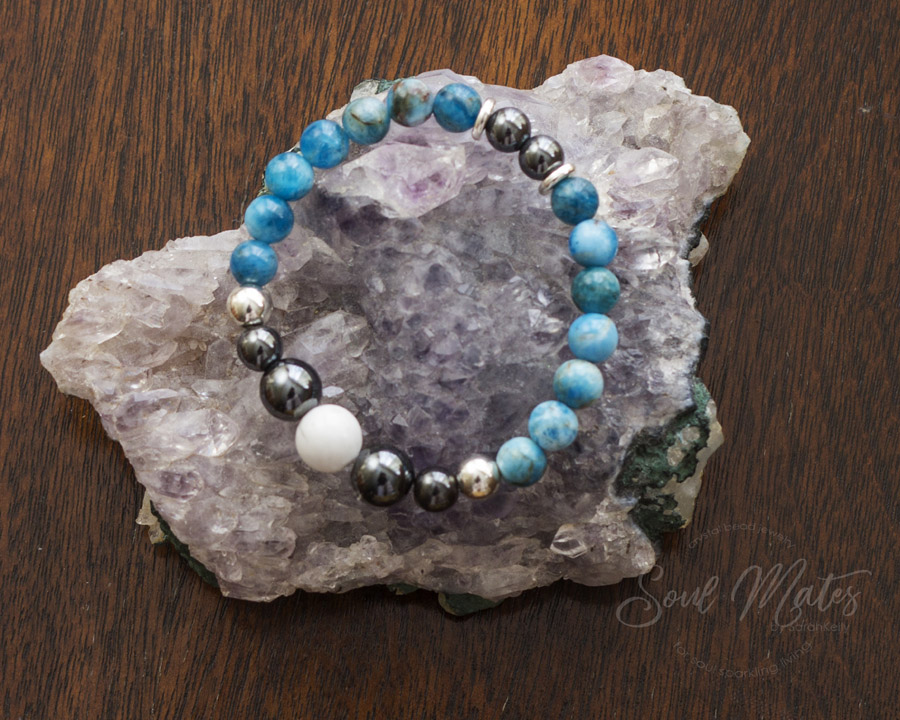 Balancing  - Apatite, Hematite and Howlite - Aids communication and self expression, clears confusion, hyperactivity. Great for focused attention and balanced energy.  $16