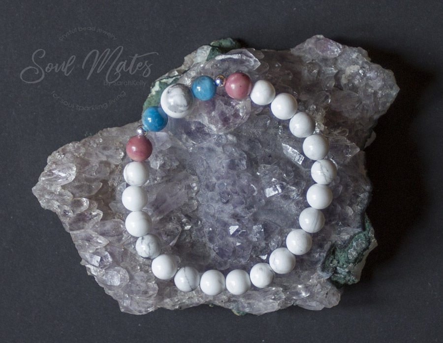 Calming  - Howlite, Apatite and Rhodonite - Extremely calming helping sleep and peaceful mindedness. Alleviates anger and promotes positive self expression and character traits.  $16