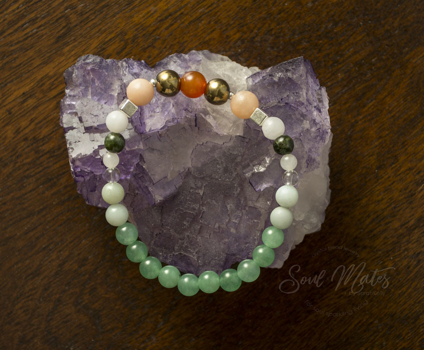 Wealth and Abundance  - Green Aventurine, Pyrite, Amazonite and Tourmaline create a combination that is both grounding and calming for the body and mind while also attracting wealth and abundance. Great for day wear.  $22