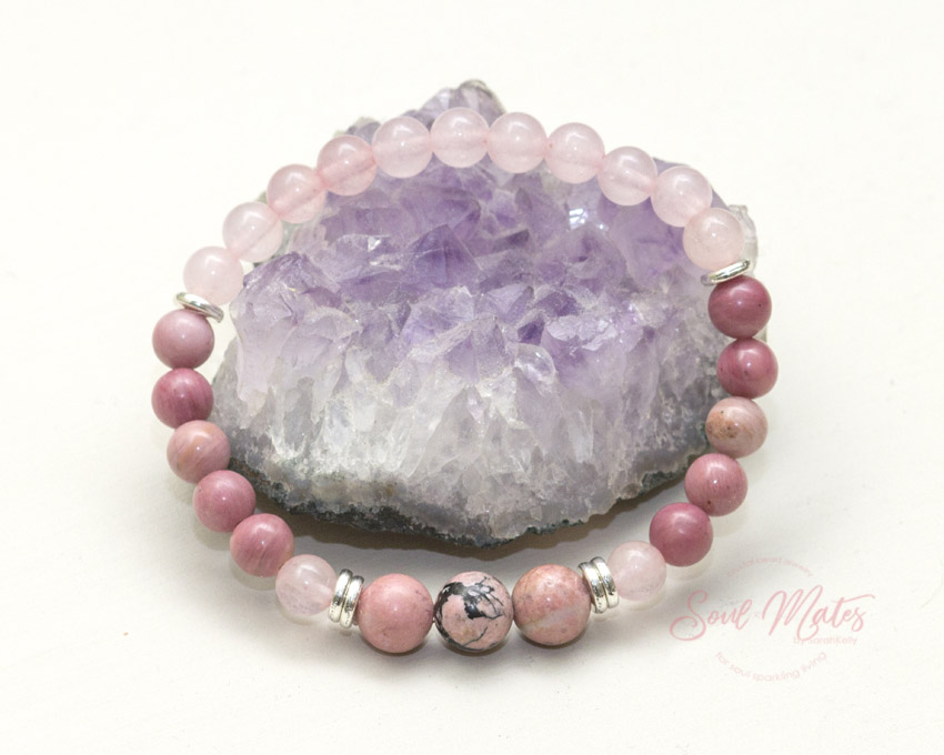 Romantic Love  - Rose Quartz and Rhodonite attract love and balance the heart allowing love to flow in. Rhodondite has been known to increase fertility.  $24