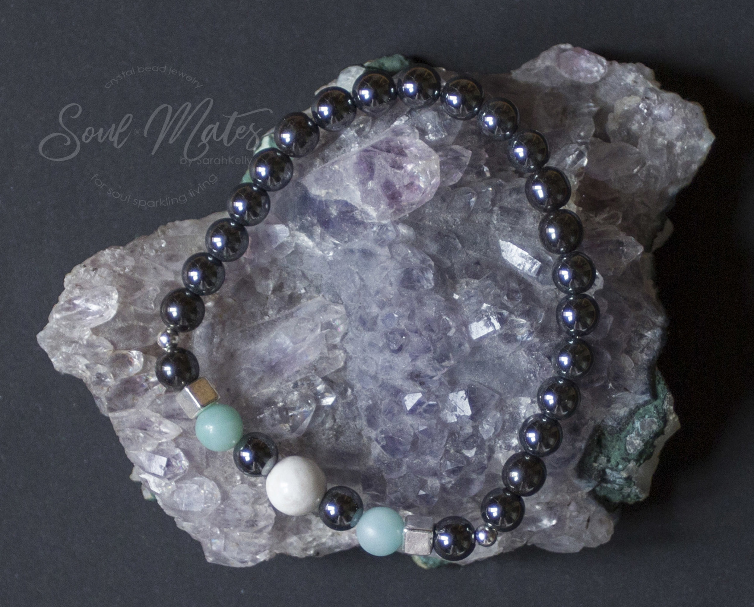 Focus  - Great for the work or school day.  Hematite balances and centers the energy of the body and mind while Amazonite and Howlite soothes the nervous system and mind.  $20