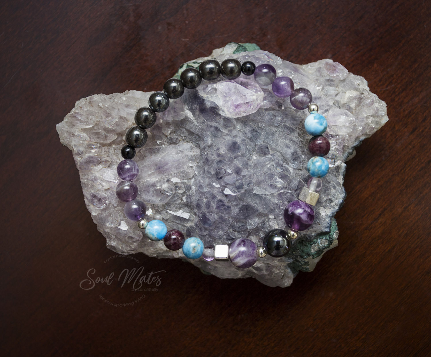 Intuition  - Fluorite, Apatite and Amethyst open intuition while Tourmaline and Hematite balance and ground energies.  Also falls into the Focused mind category as Fluorite and Hematite allow for an organized state of mind.  $22