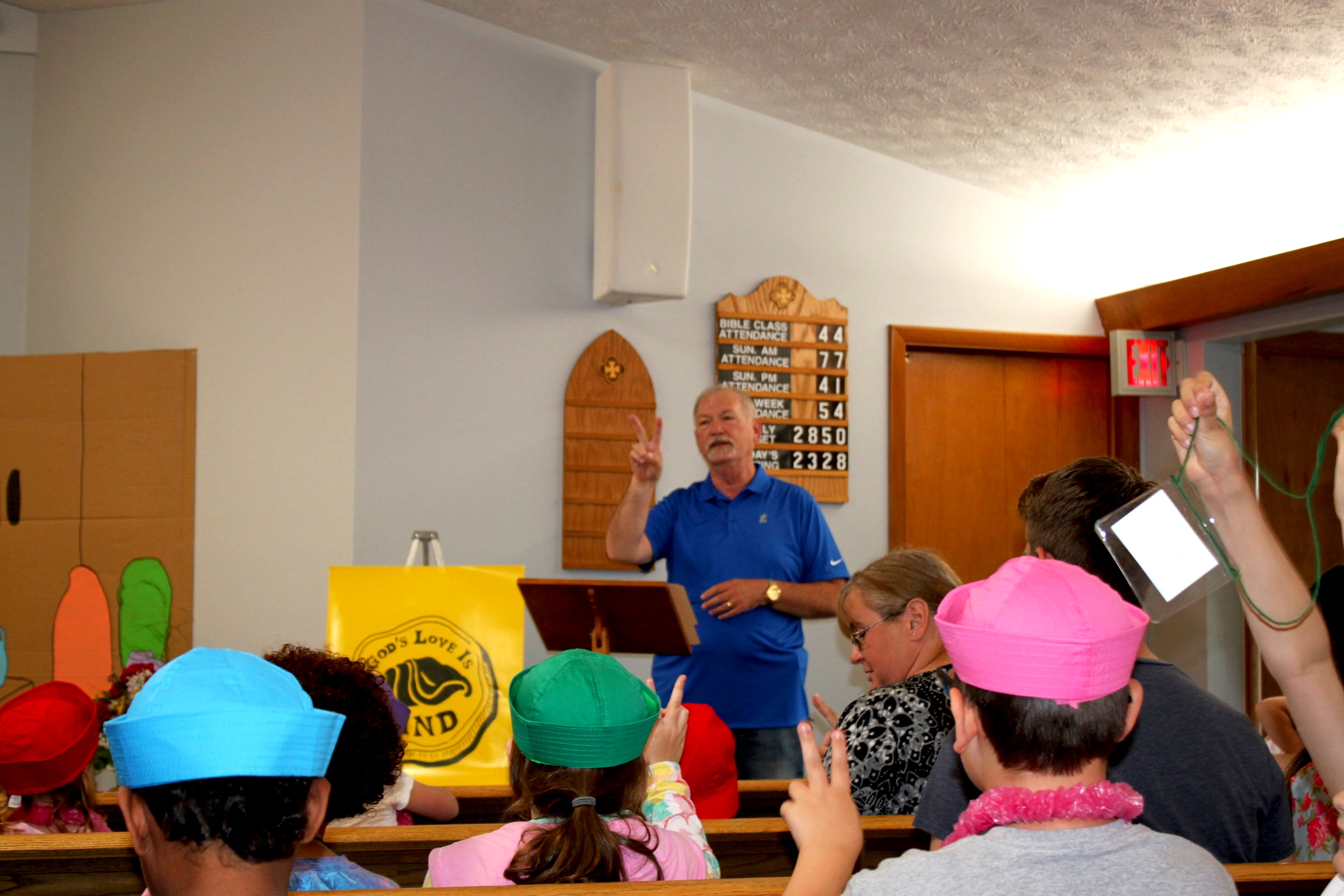 Randy Cass (Elder) leading a children's activity during 2019 VBS Super Saturday.