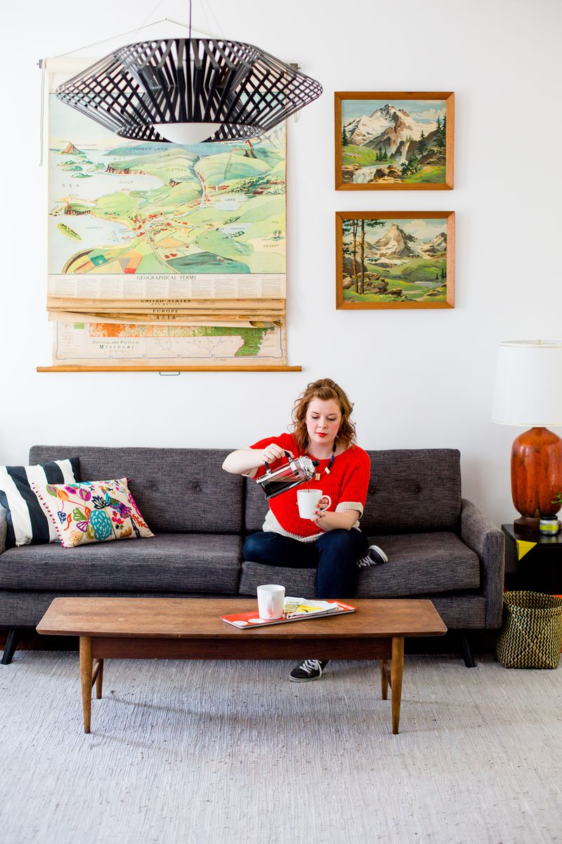 Photo by Laura Gummerman for A Beautiful Mess. Click through to see my entire Living Room tour from our previous home!