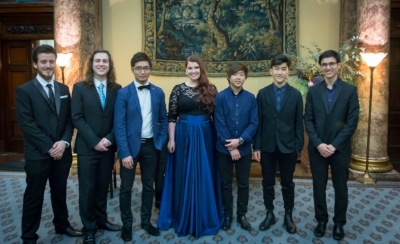 AMF Awardees at the Prize Winners' Celebration, Australia House, November 2016. L to R: James Yan, Daniel Mullaney, James Guan, Jade Moffat, Waynne Kwon, Justin Sun, Jesse Flowers