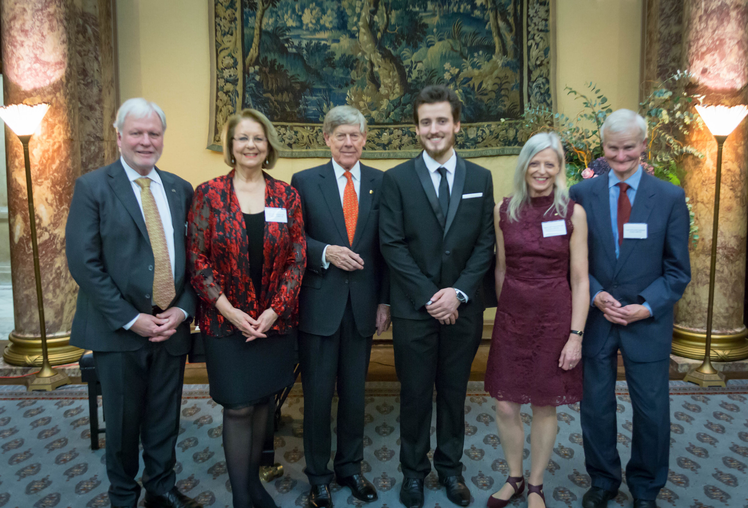 Trustees Dennis Muirhead, Yvonne Kenny, Lord Broers, Margaret Mayston & Prof. Cornish with AMF UK 2016 Trustees awardee James Yan (4th from left)