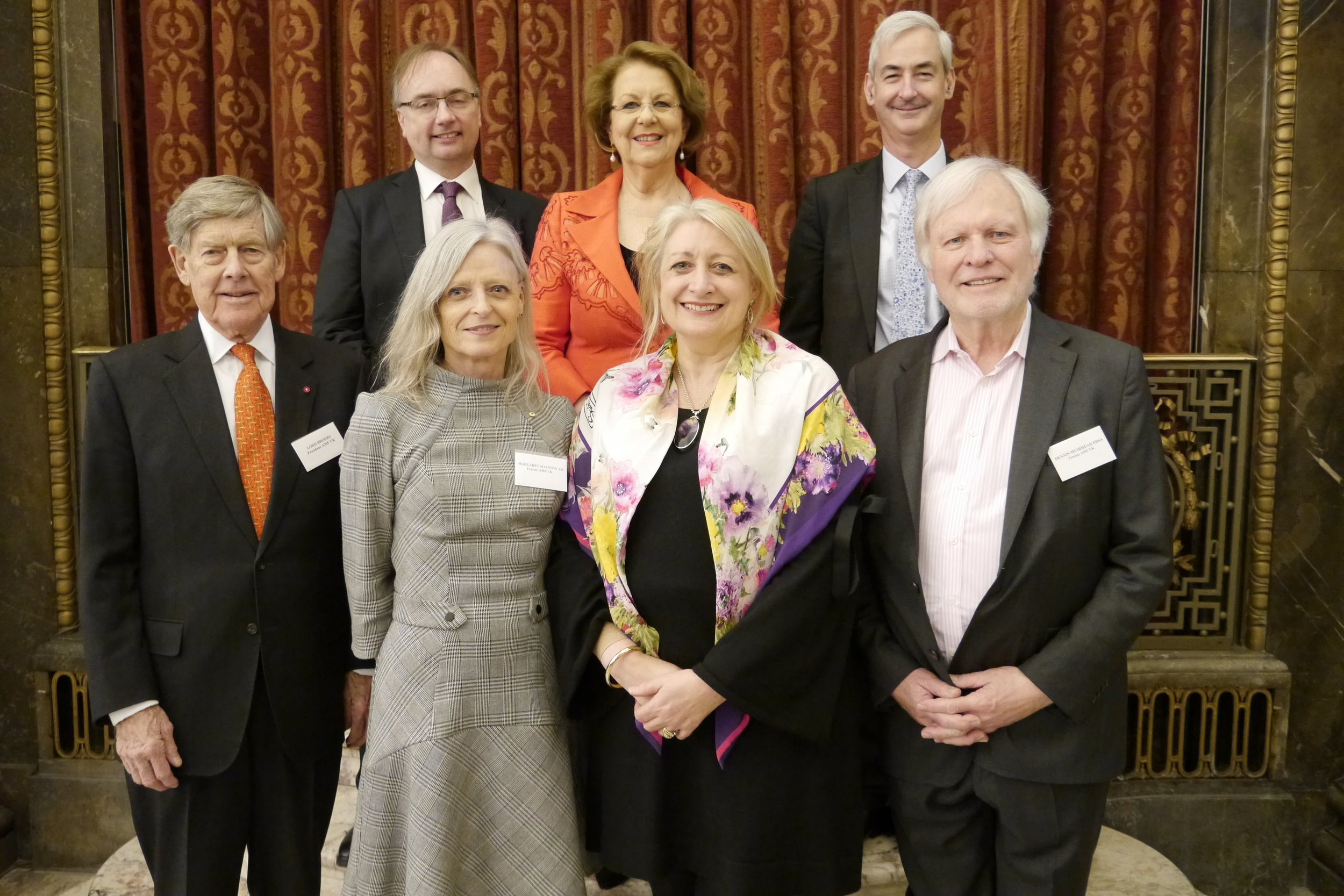 AMF Trustees at the Spring Showcase, March 2019. Back Row L to R: Marcus Cox, Yvonne Kenny AM, James Pitman, Front Row: Lord Broers, Margaret Mayston AM, Ruth Cornett, Dennis Muirhead.