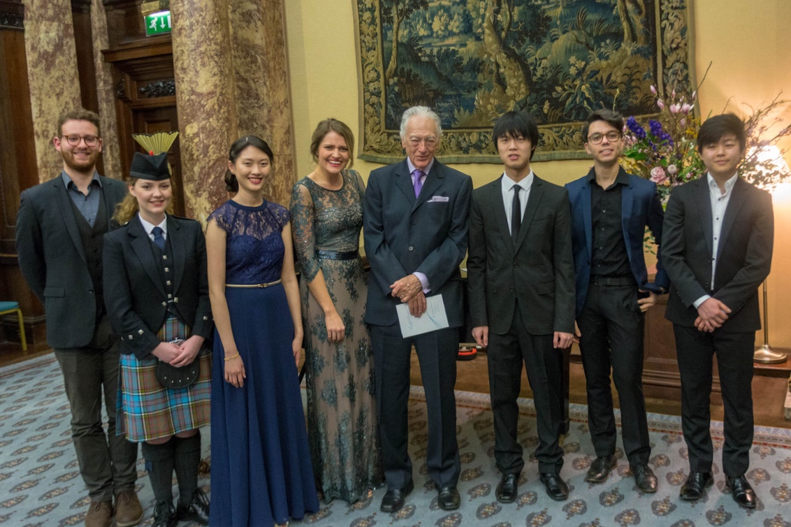 Matan Franco, Eilidh Young, Victoria Wong, Samantha Clarke, Richard Bonynge (Life President), Oscar Jiang, Connor D'Netto and Waynne Kwon at the AMF spring Showcase, Australia House, March 2018