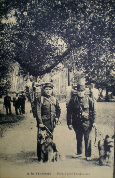 Fr postcard of 2 Douaniers with fawn briard on right.jpg