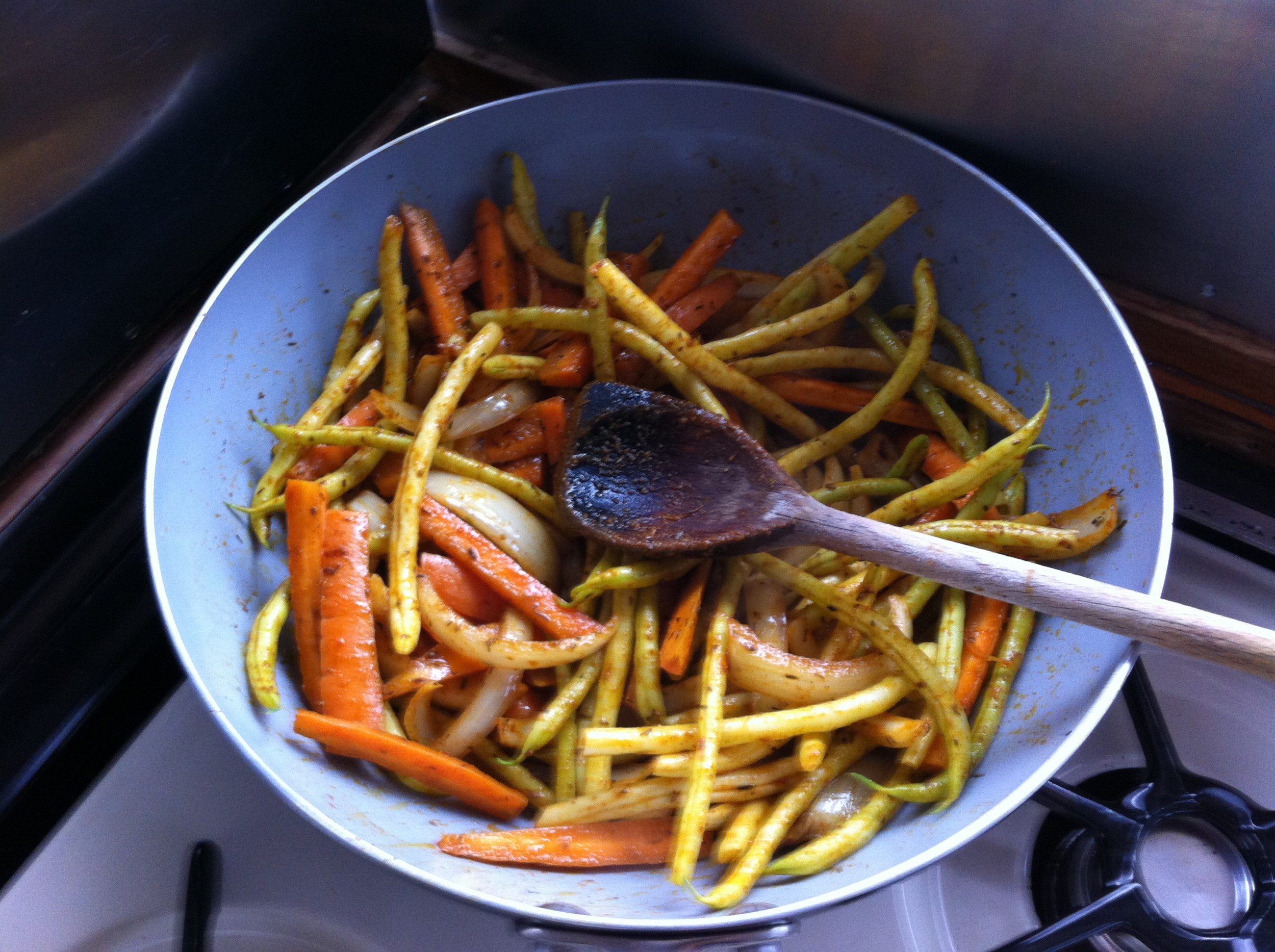Jill's talent in the kitchen is never more apparent than when she whips up one of her delicious stir fries. Fresh veg from the garden, garlic, herbs and her secret ingredient (which she uses in almost everything) No Frills curry powder.