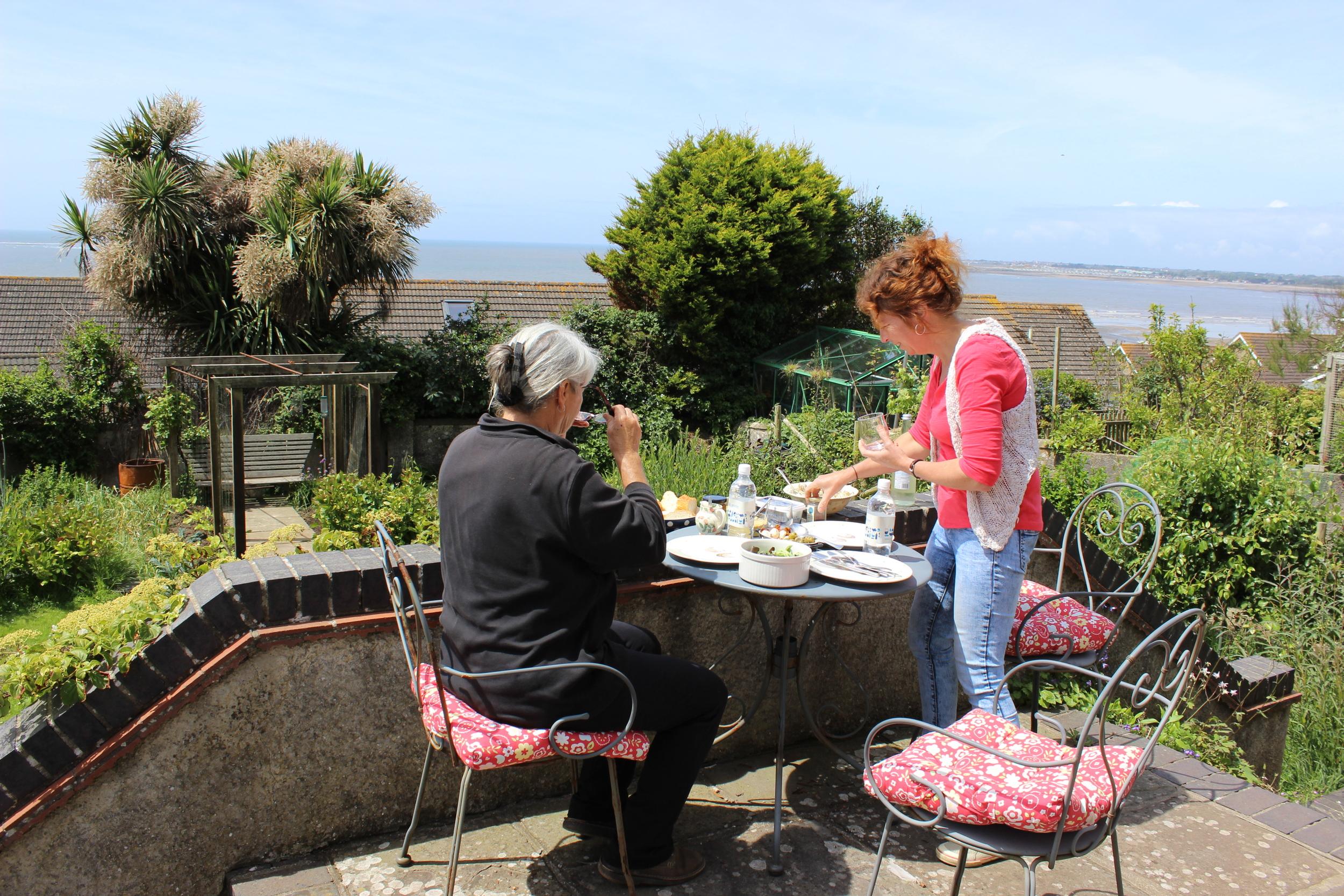 Lunch on Mel's terrace.